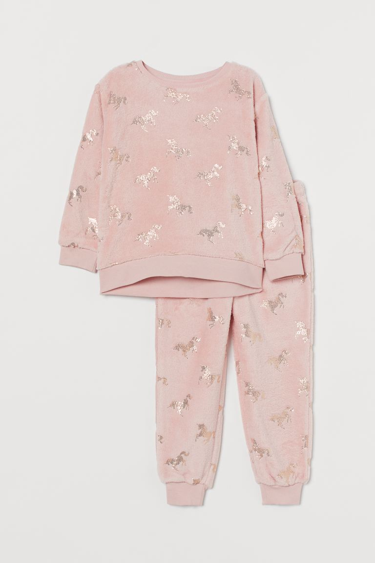 Pyjamas i fleece - Lys rosa/Enhjørninger - BARN | H&M NO