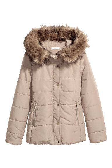 Padded Jacket Beige Ladies H M, H M Black Coat Fur Hood