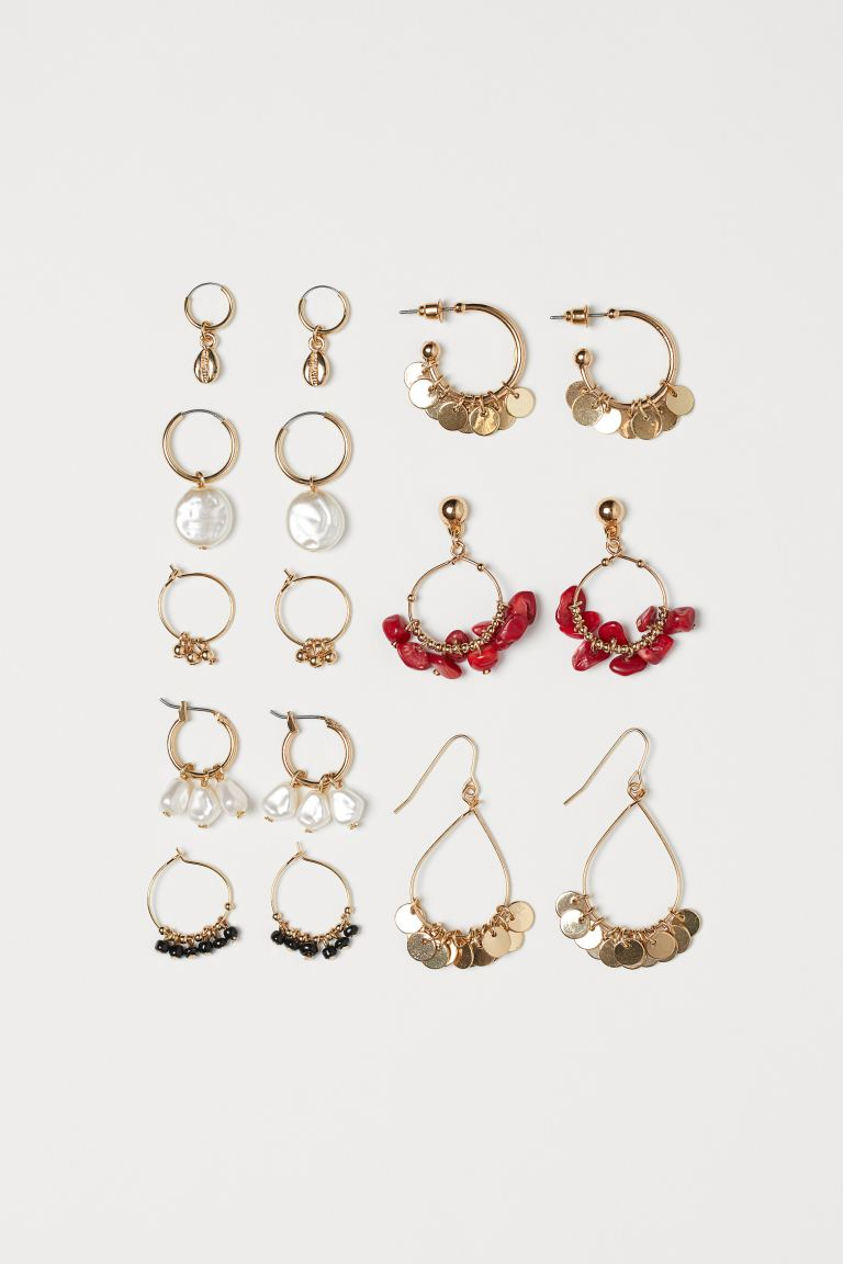 8 Pairs Earrings - Gold-colored - Ladies | H&M US