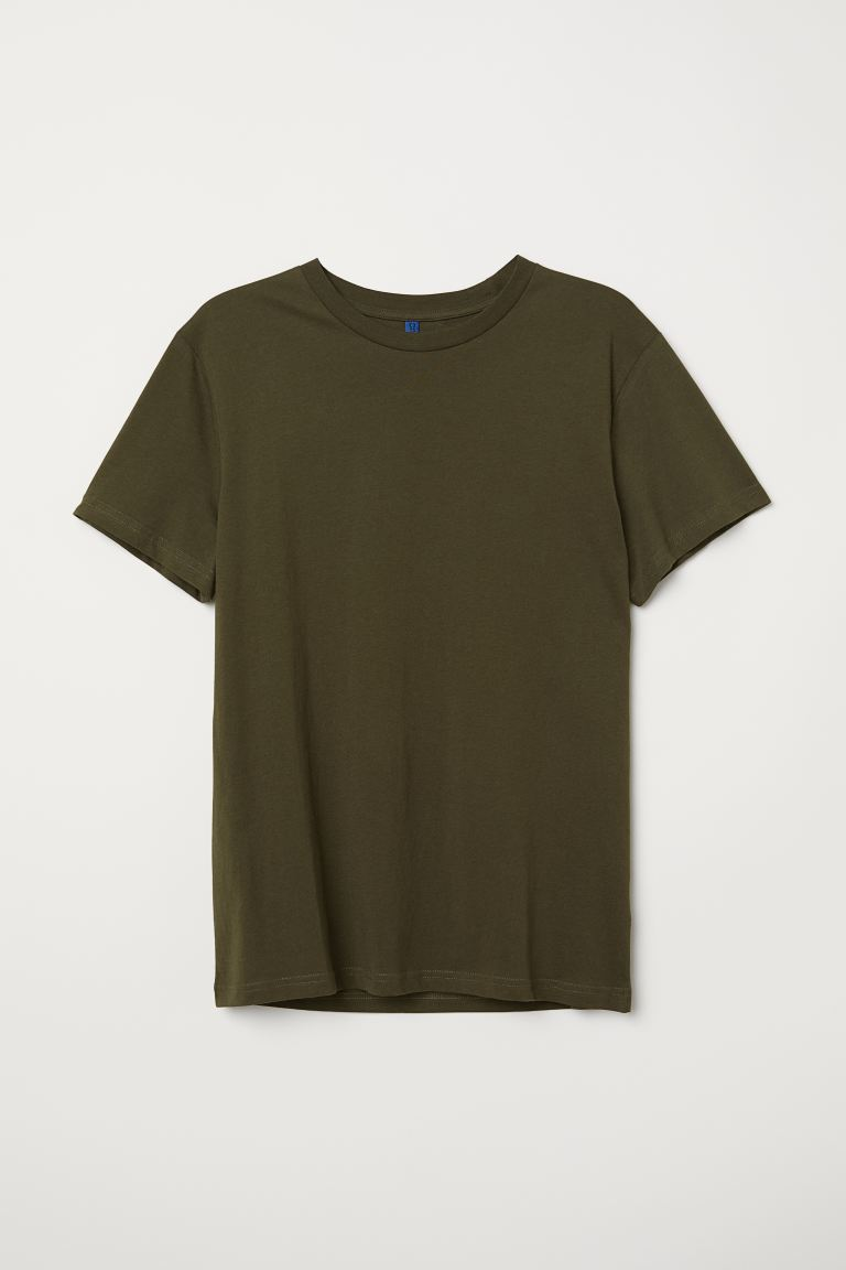 T-shirt - Dark khaki green - Men | H&M US
