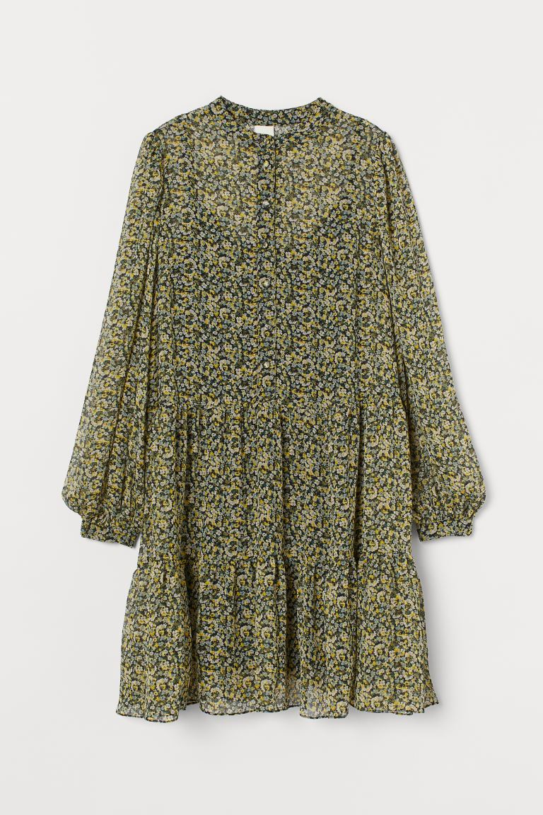 Chiffon Dress - Black/yellow floral - Ladies | H&M US
