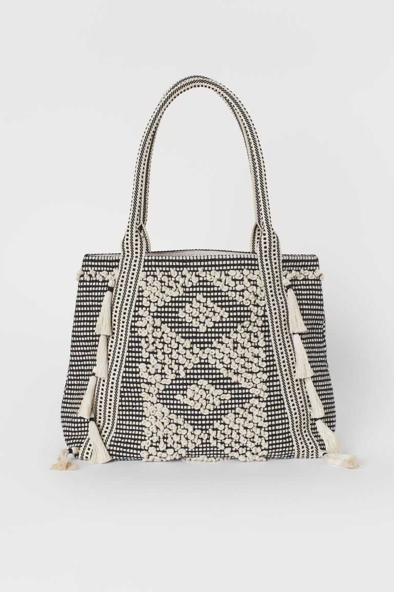Tasseled Shopper - Black/natural white - Ladies | H&M US