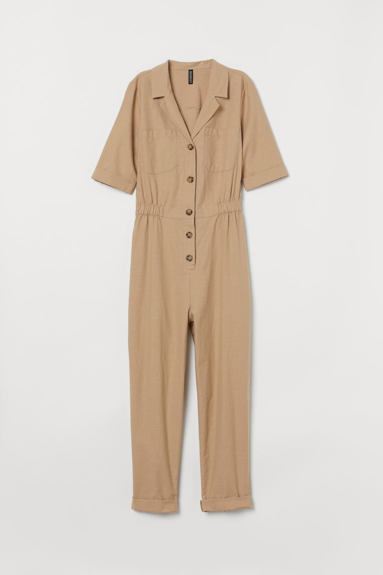 Cotton boiler suit - Beige - Ladies | H&M GB