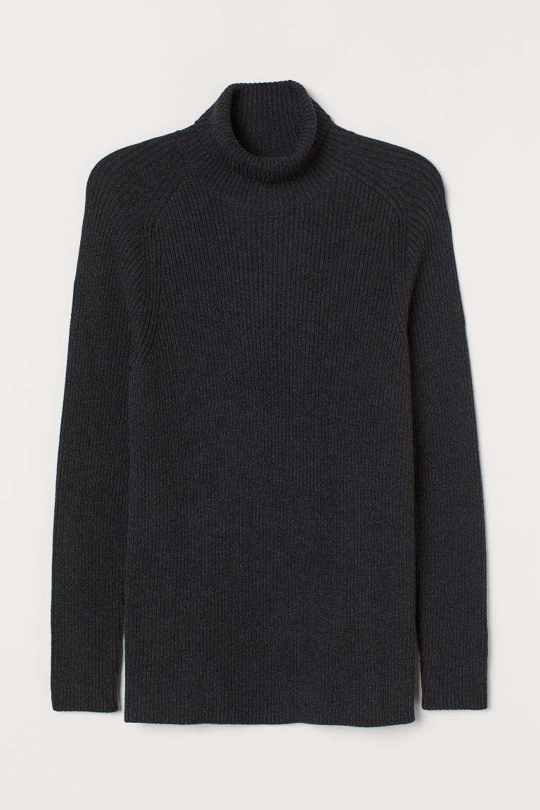 Polo-neck jumper Muscle Fit - Dark grey marl - Men | H&M
