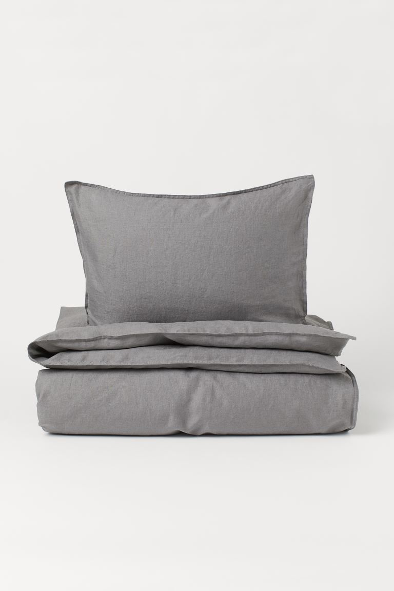 Washed linen duvet cover set - Grey - Home All | H&M GB