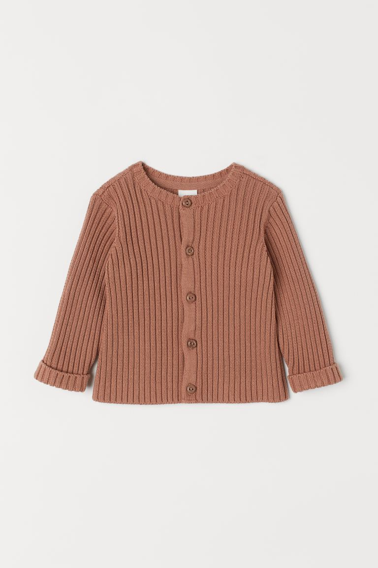 Rib-knit Cardigan - Dark beige - Kids | H&M US