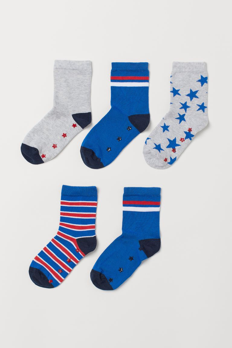 5-pack Non-slip Socks - Bright blue/stars - Kids | H&M US