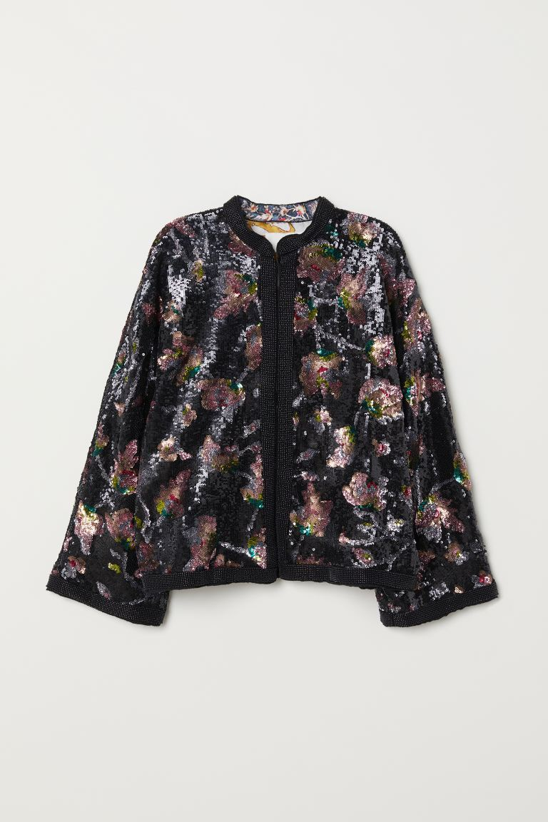 Sequin-embroidered Jacket - Dark blue/sequins - Ladies | H&M US