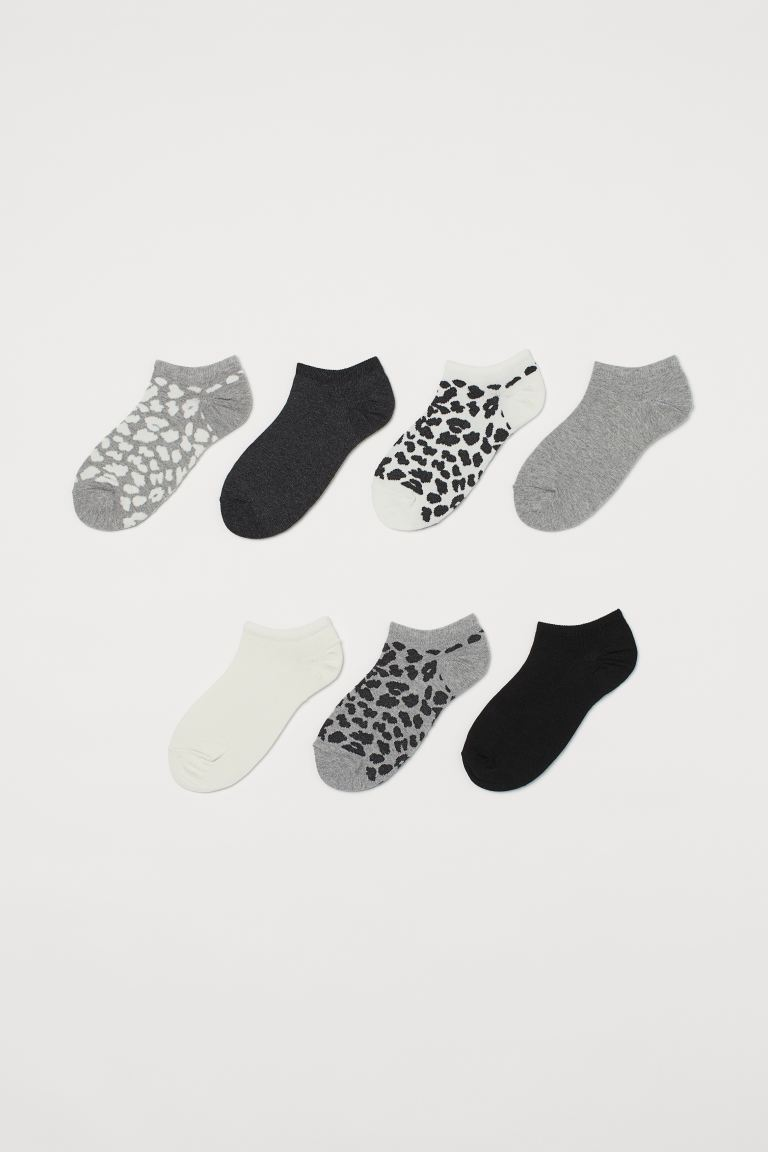 7-pack trainer socks - Grey marl/Leopard print - Ladies | H&M IE