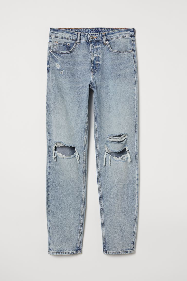 Boyfriend Low Ripped Jeans - Light denim blue - Ladies | H&M US