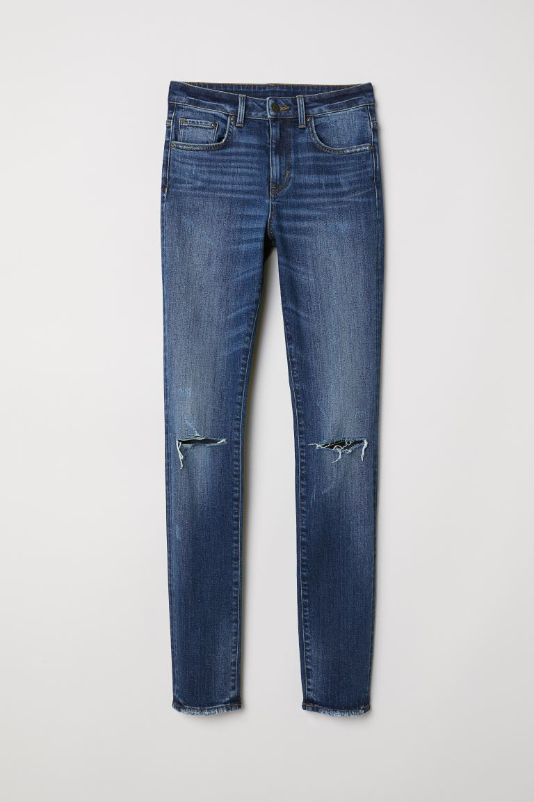Skinny High Jeans - Denimblauw trashed - DAMES | H&M BE