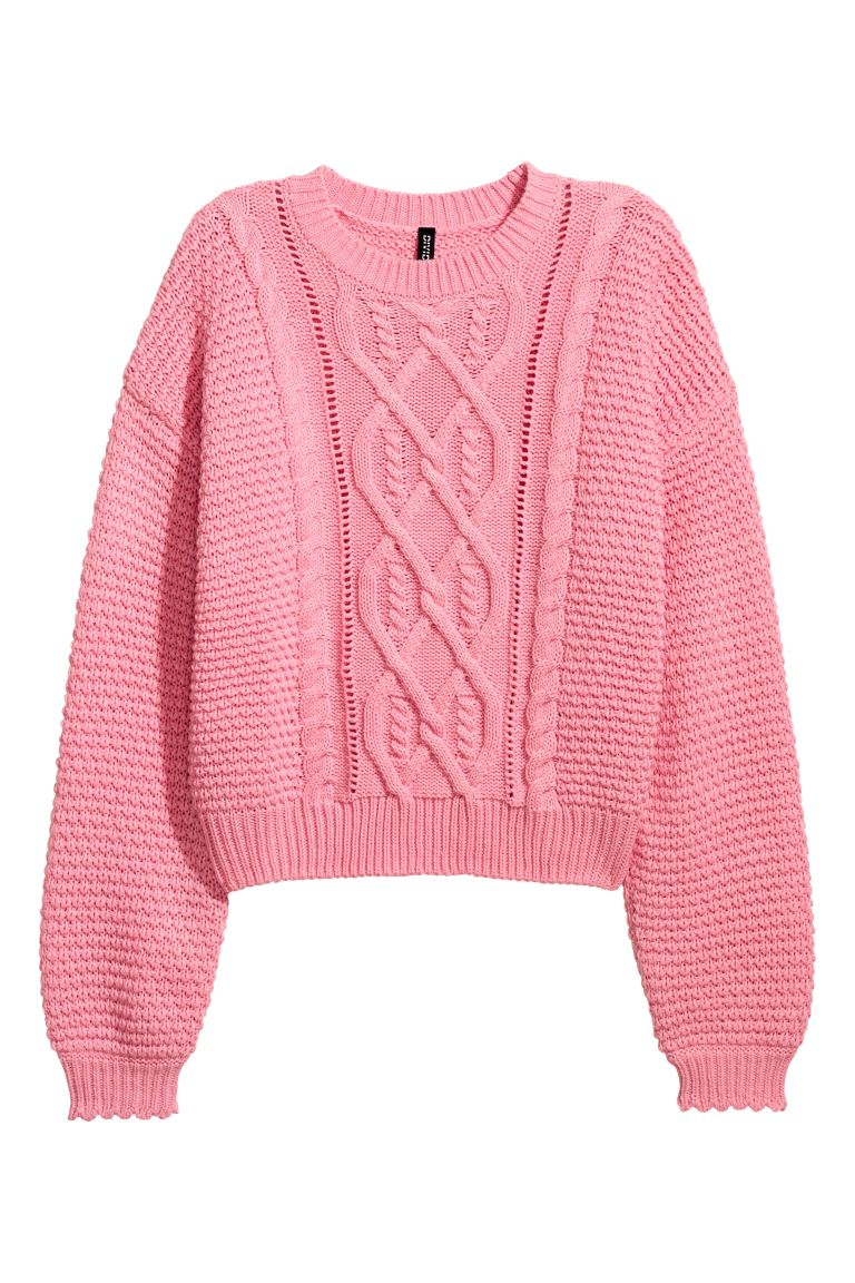 Textured-knit Sweater - Pink - Ladies | H&M CA