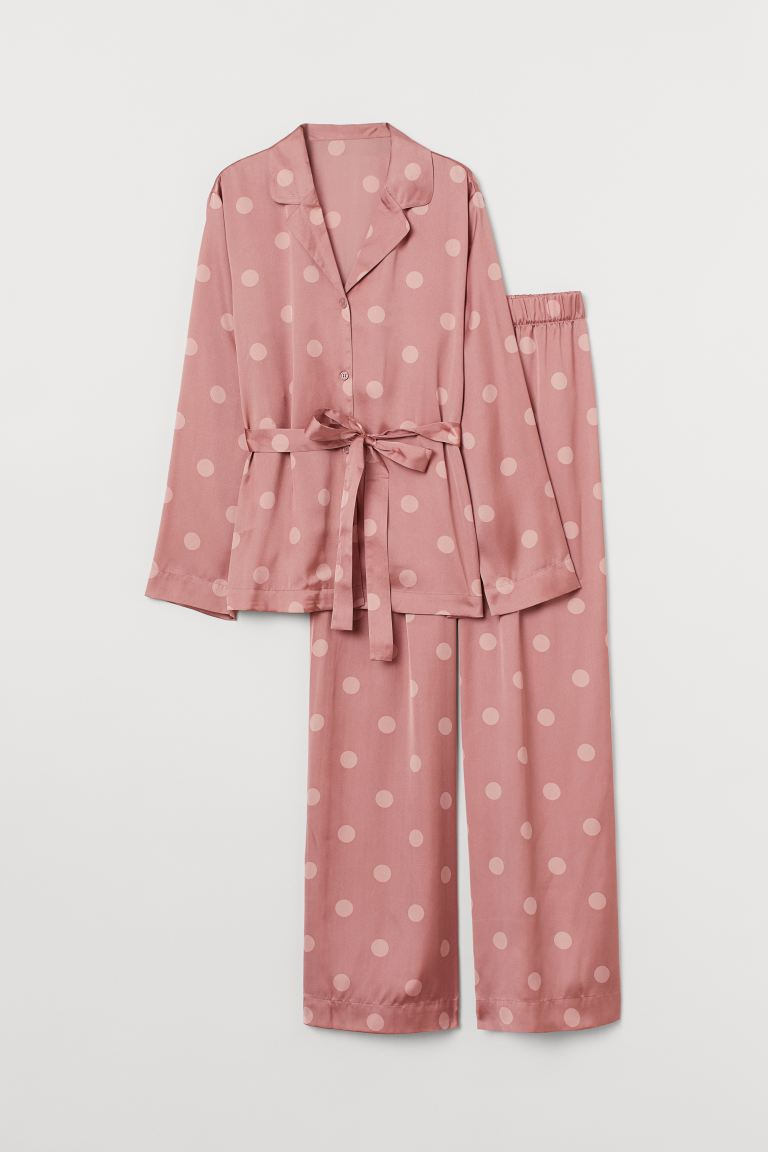 Satin Pajamas - Dusty rose/dotted - Ladies | H&M CA