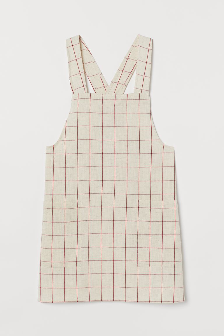 Delantal estampado con lino - Blanco natural/Cuadros rojos - HOME | H&M ES