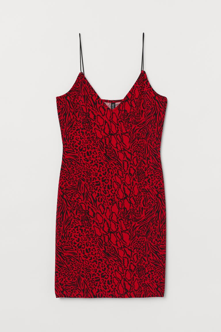 Short Dress Red Animal Print Ladies H M