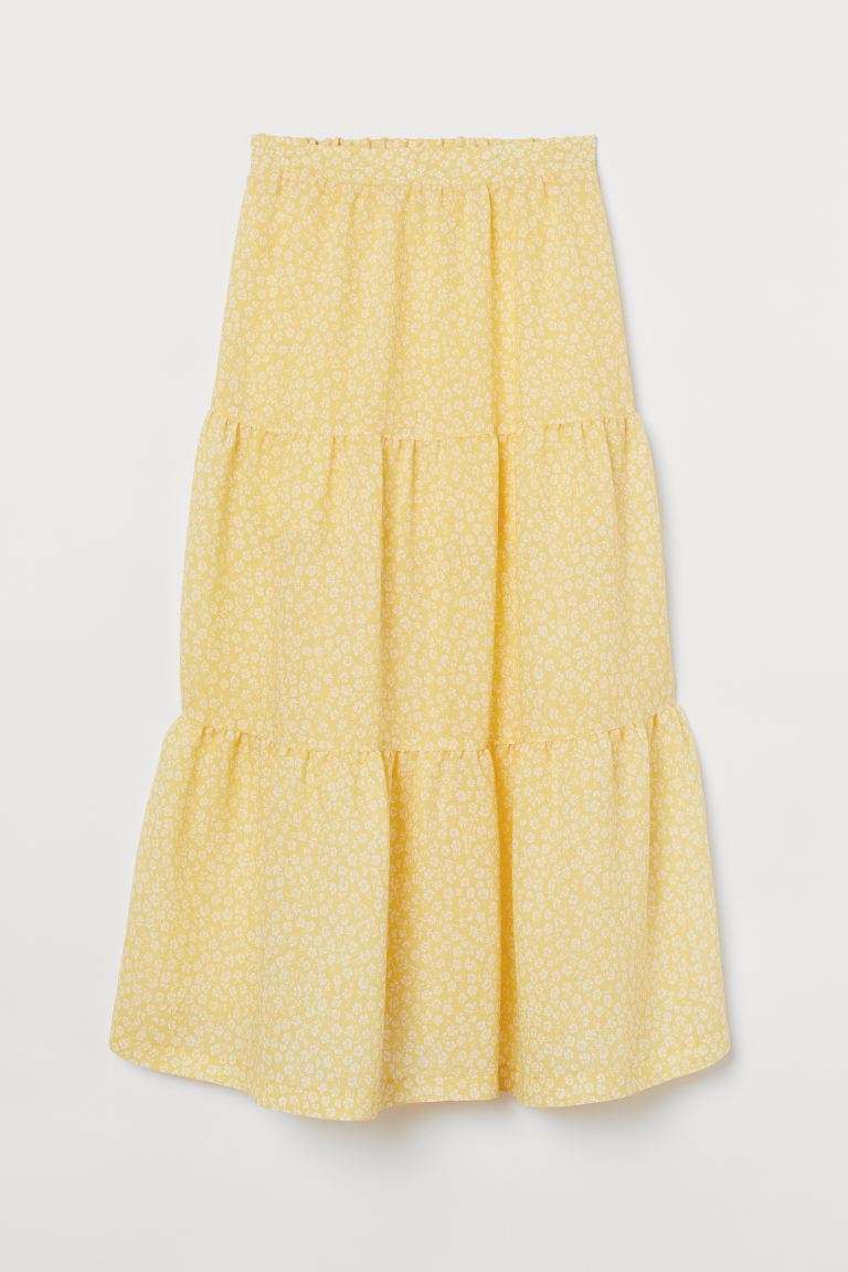 Flared Skirt - Yellow/White floral - Ladies | H&M AU