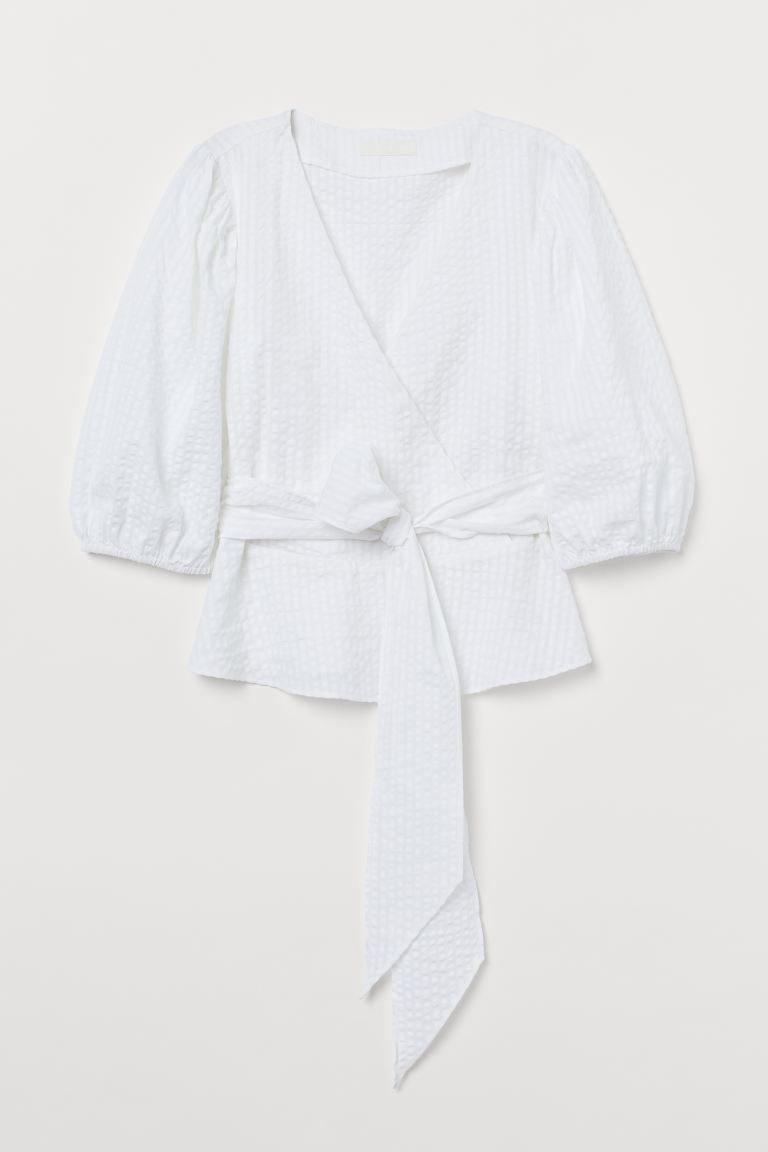 Puff-sleeved wrapover blouse - White - Ladies | H&M IE