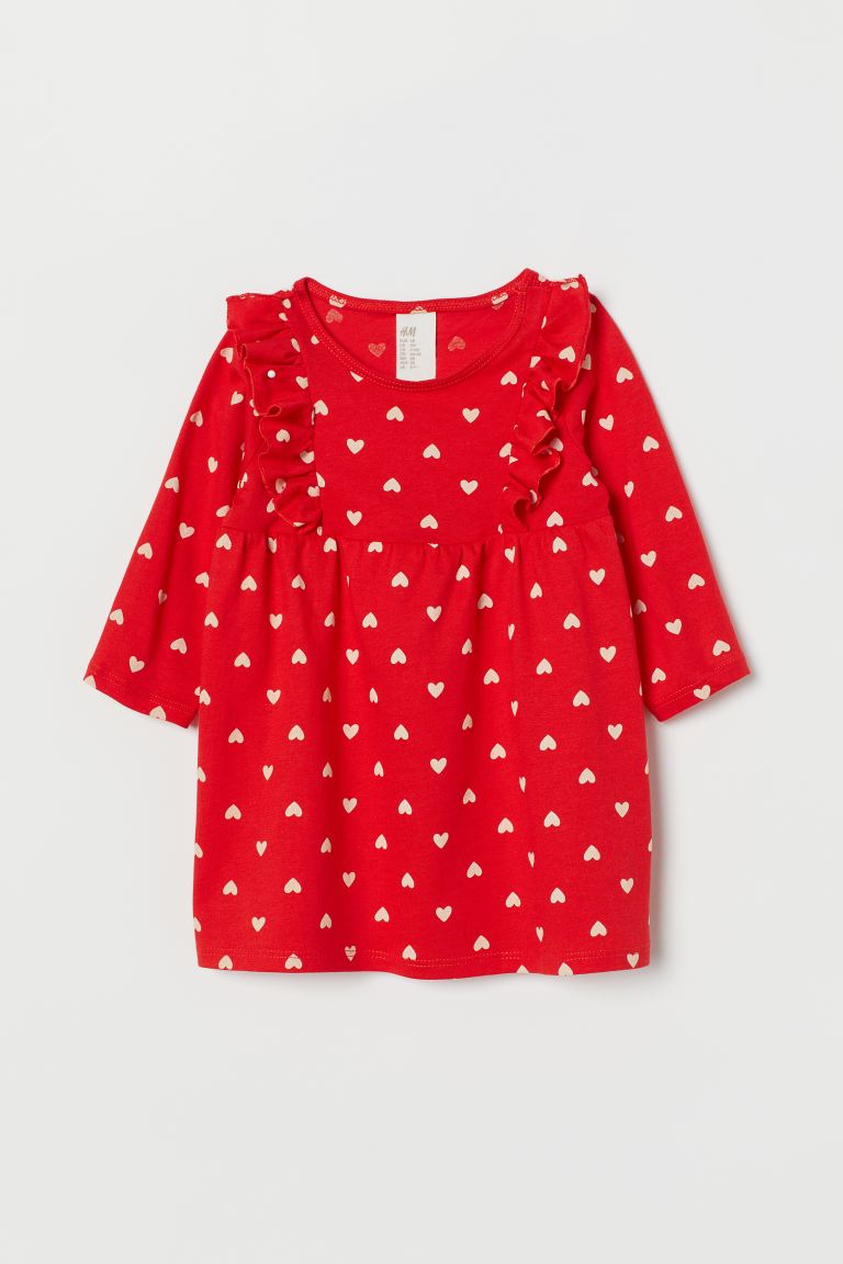 Frill-trimmed jersey dress - Red/Hearts - Kids | H&M