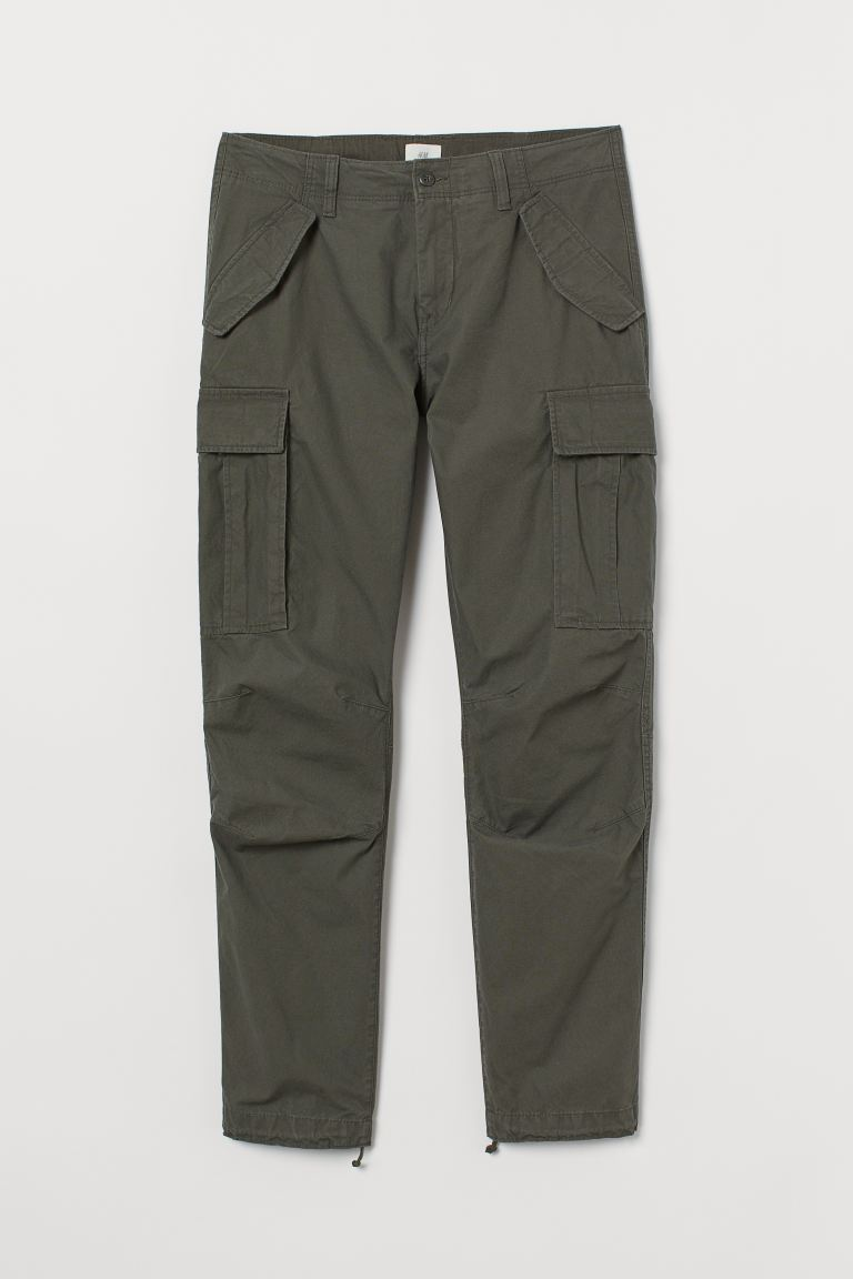 Cotton Cargo Pants - Khaki green - Men | H&M US