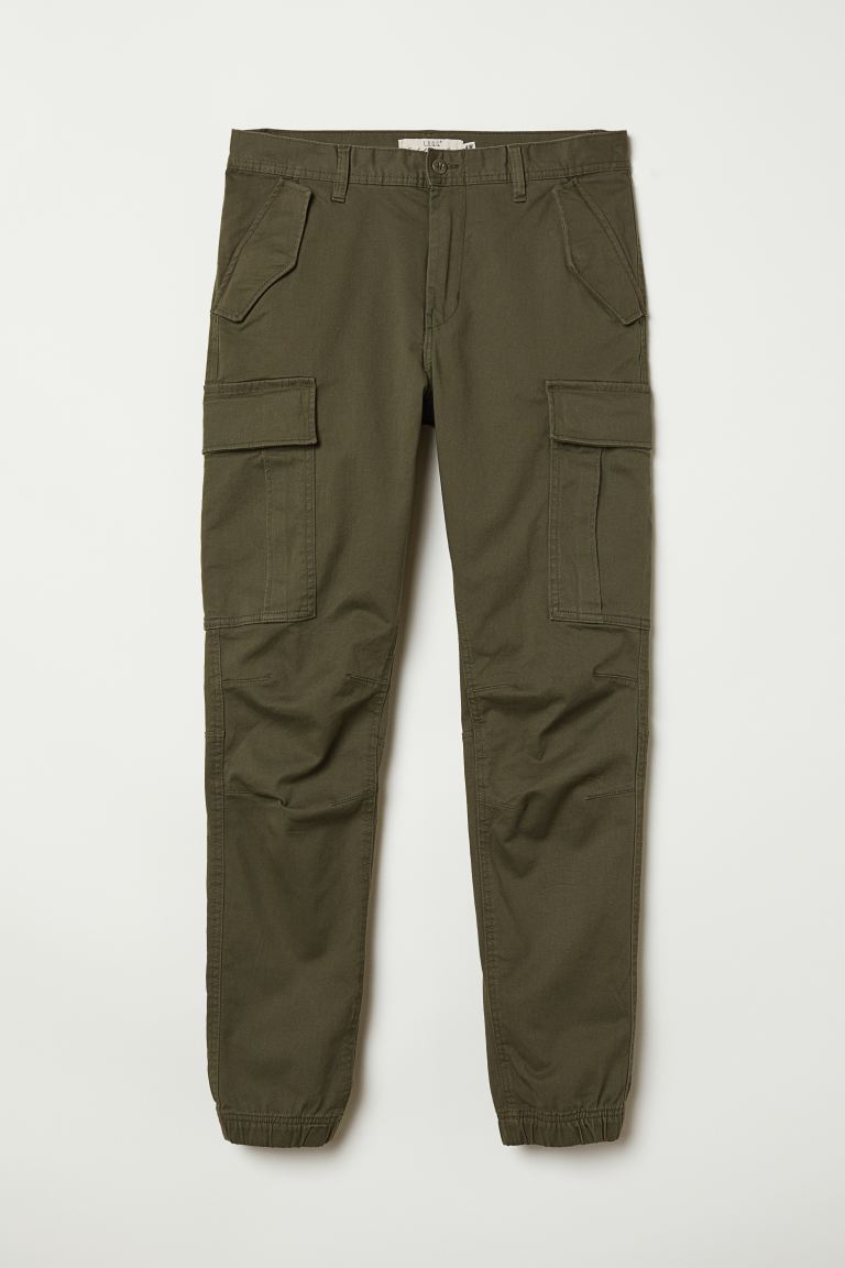 Cotton twill cargo joggers - Dark khaki green - Men | H&M GB