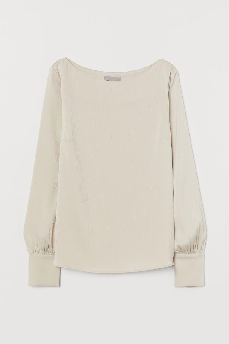 Satin boat-necked blouse