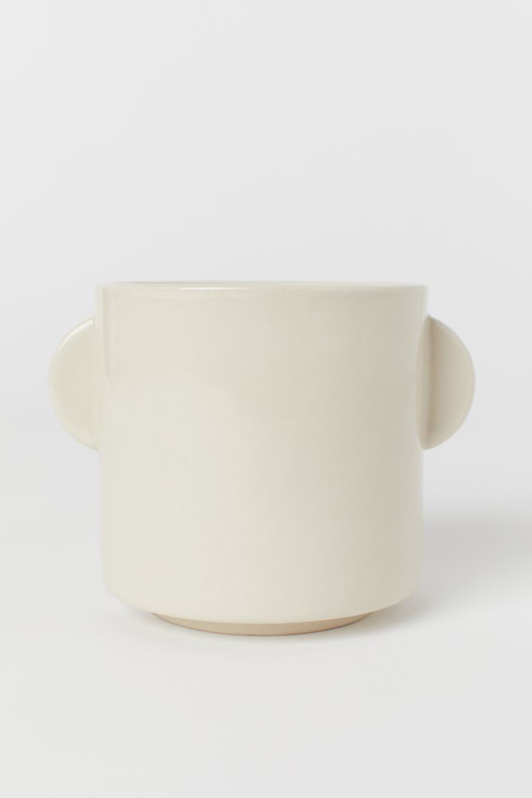 Stoneware Plant Pot - Natural white - Home All | H&M US