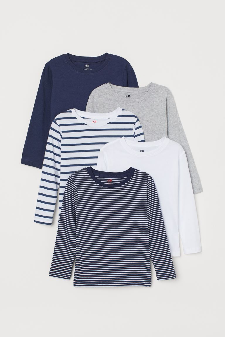5-pack Jersey Shirts - Dark blue/white striped - Kids | H&M US