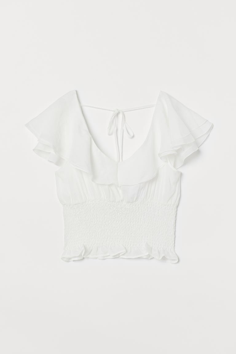 Flounced smocked top - White -  | H&M