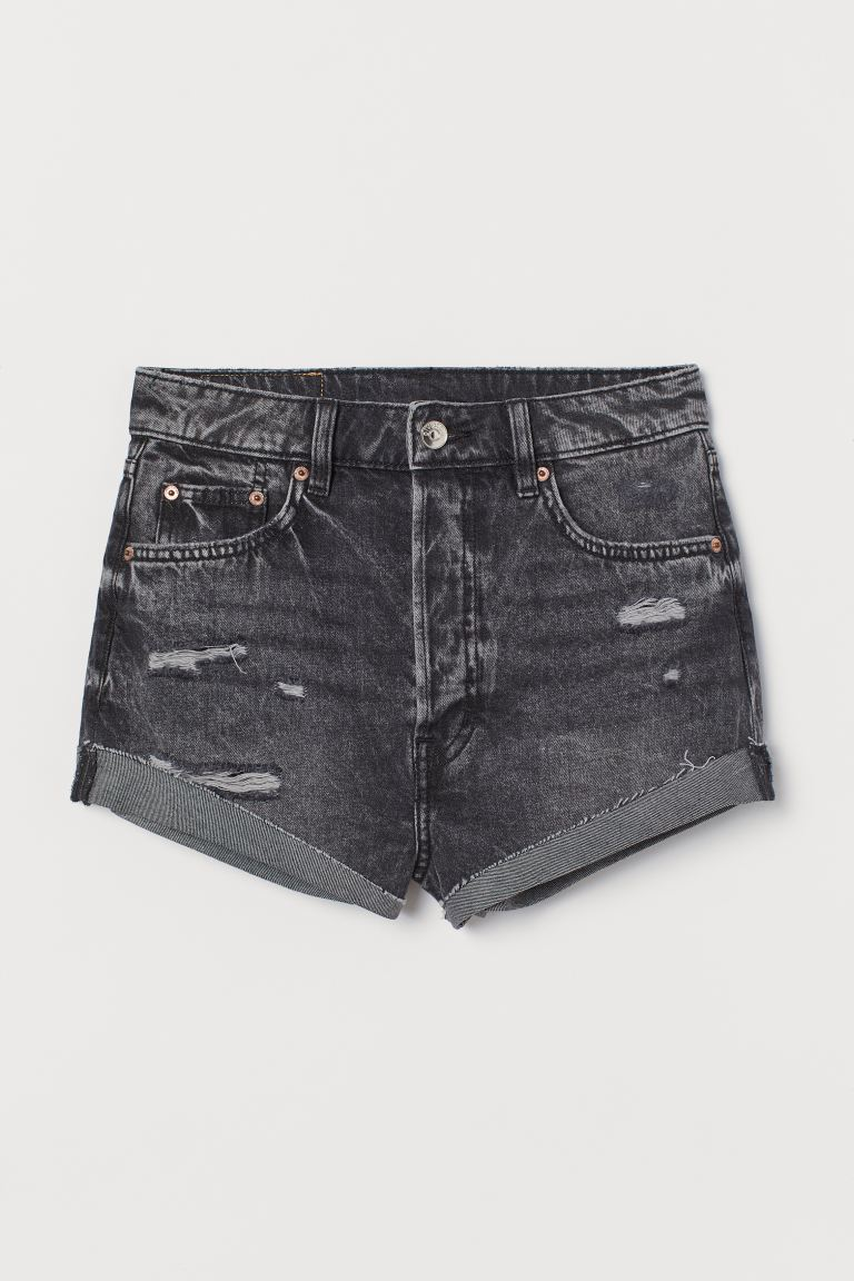 Vaquero corto High Waist - Gris oscuro/Washed out - MUJER | H&M ES