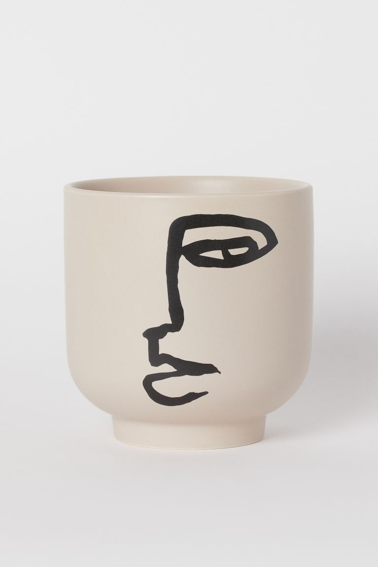Plant Pot with Graphic Design - Beige/face - Home All | H&M US