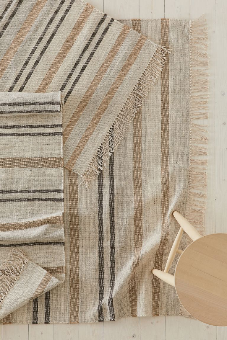 Wool-blend Rug - Light beige/striped - Home All | H&M US