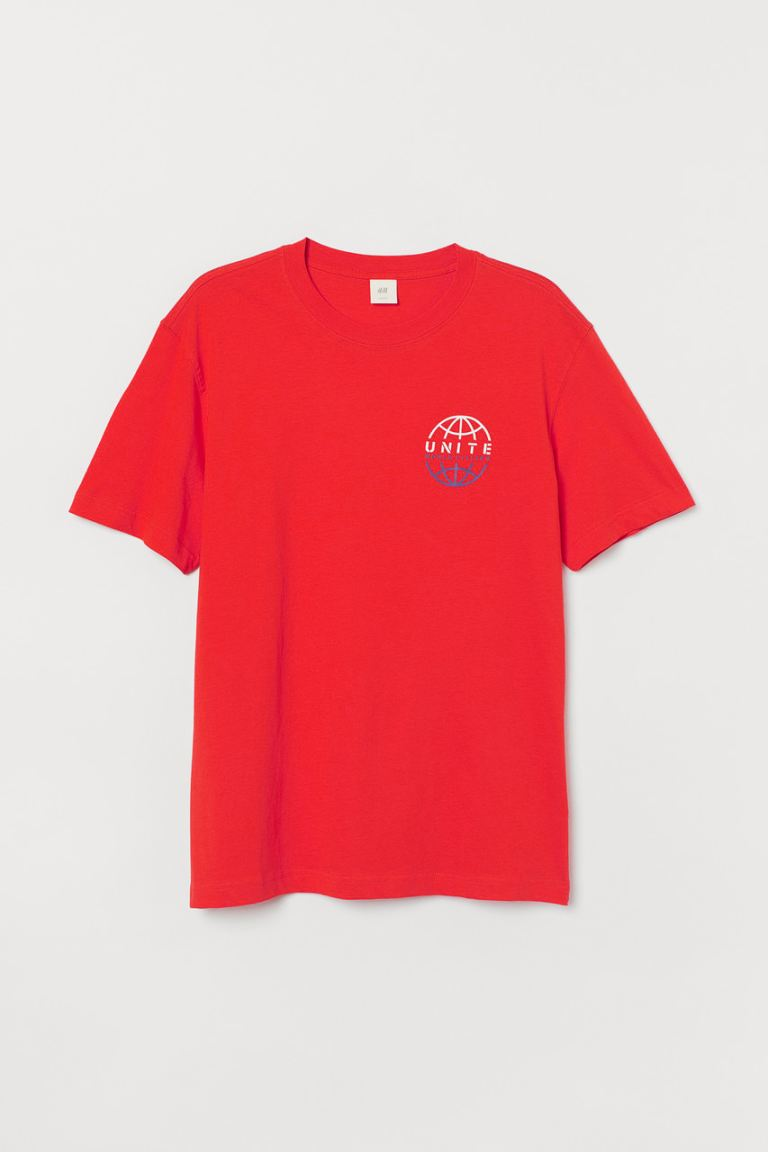 Printed T-shirt - Red/Unite - Men | H&M IN