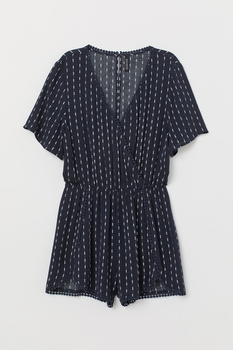 V-neck playsuit - Dark blue/White patterned - Ladies | H&M