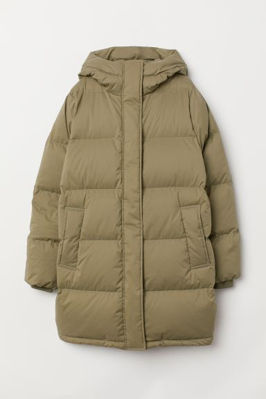 Long Down Jacket Light Khaki Green, H M Black Coat Fur Hood