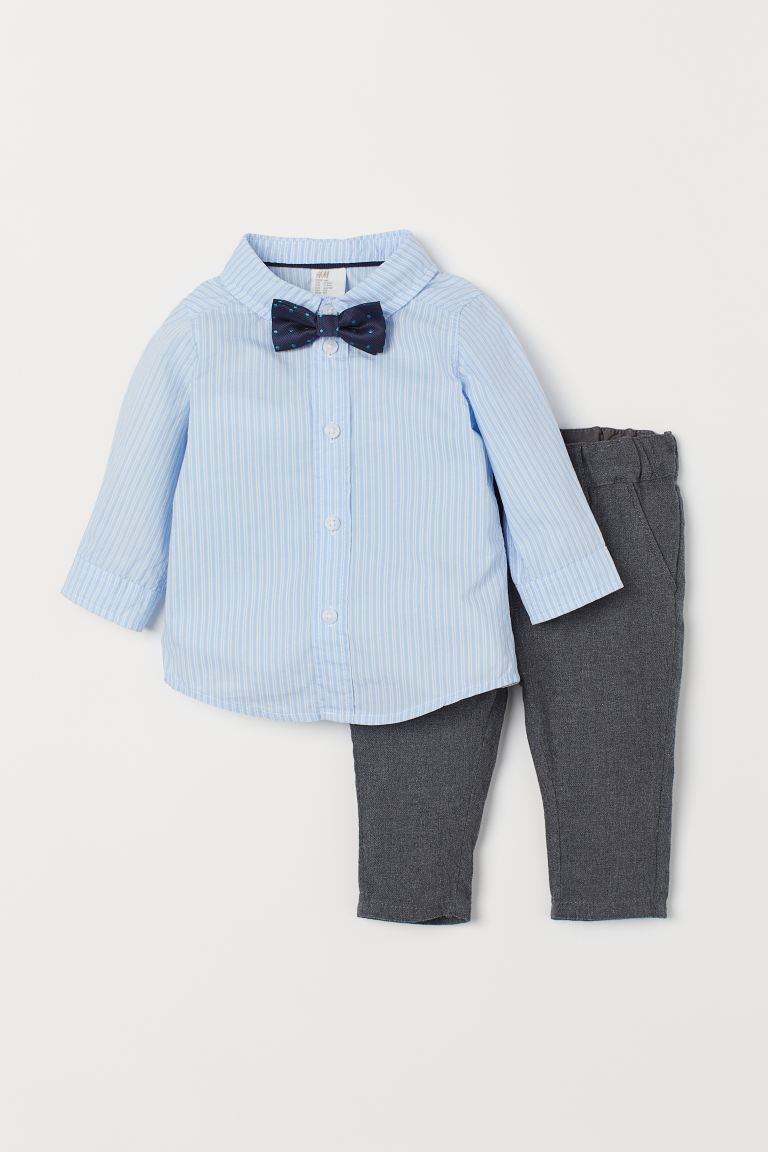 Shirt and Chinos - Light blue/dark gray - Kids | H&M US