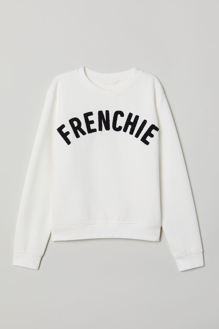 Sweatshirt with Printed Design - White/Frenchie - Ladies | H&M US