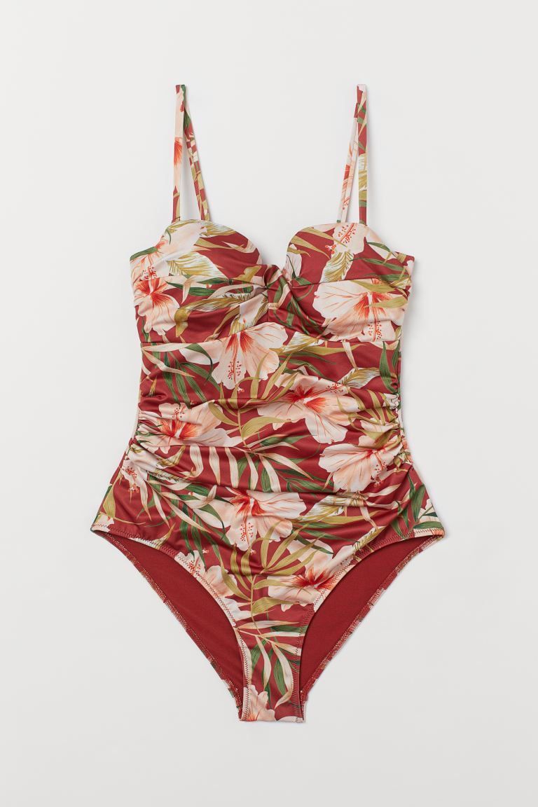 Shaping swimsuit - Rust red/Floral - Ladies | H&M GB