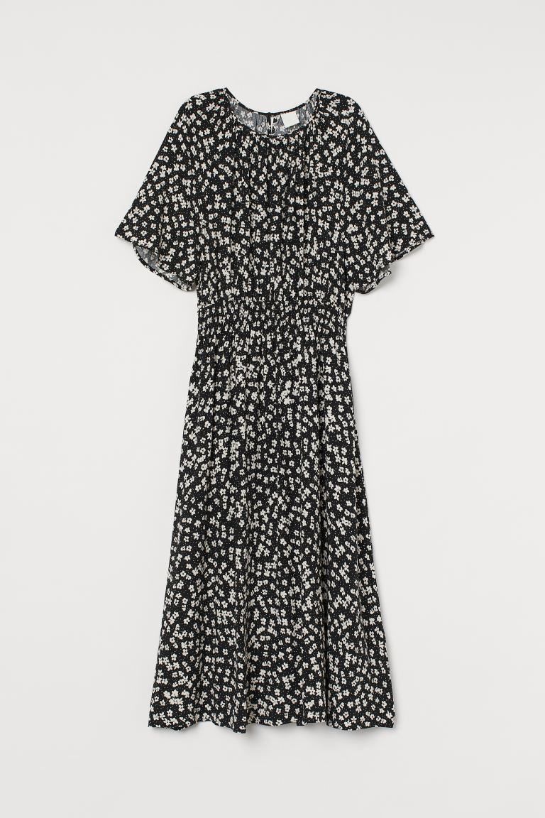 Calf-length dress - Black/White floral - Ladies | H&M GB