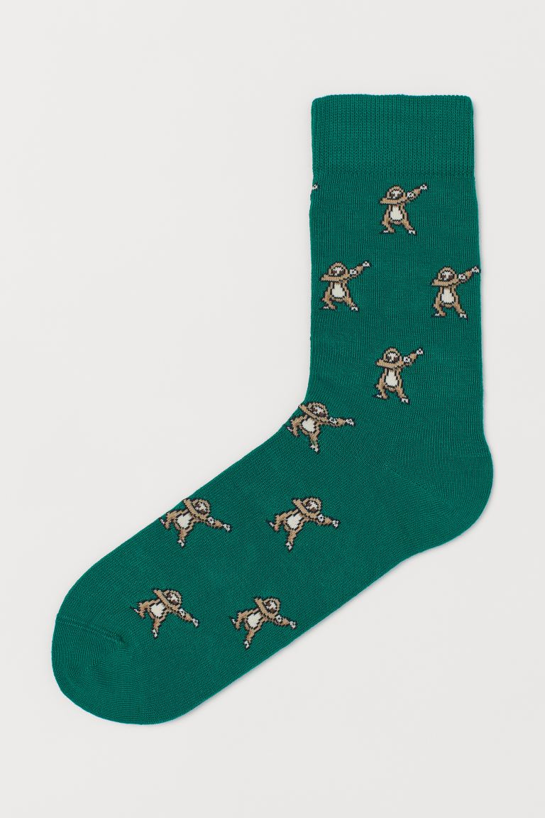 Patterned socks - Green/Sloth - Men | H&M GB