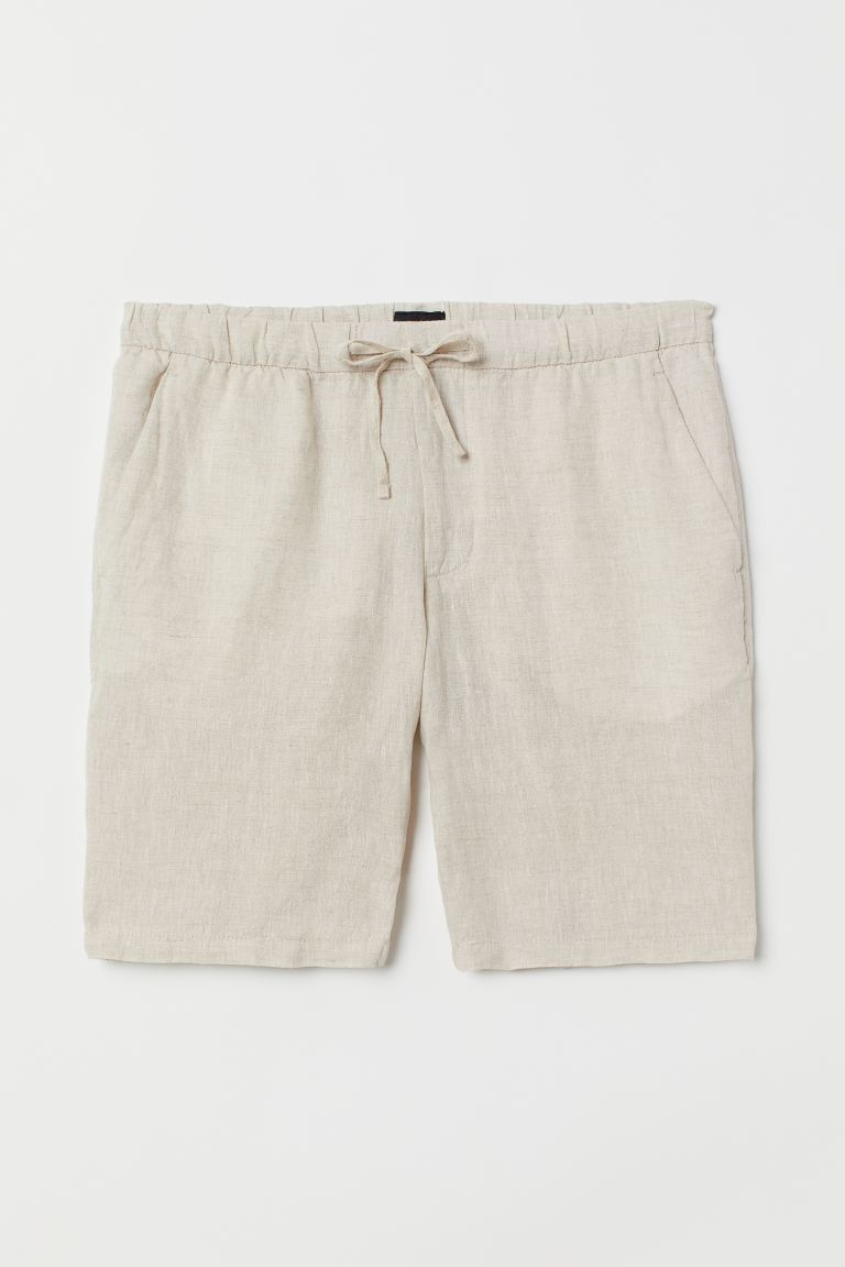 Linen Blend Shorts Relaxed Fit Natural White Men H M