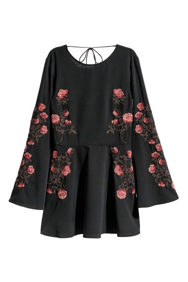 Embroidered dress - Black/Roses - Ladies | H&M CA