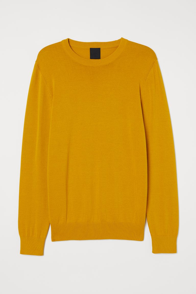 Fine-knit jumper - Yellow - Men | H&M