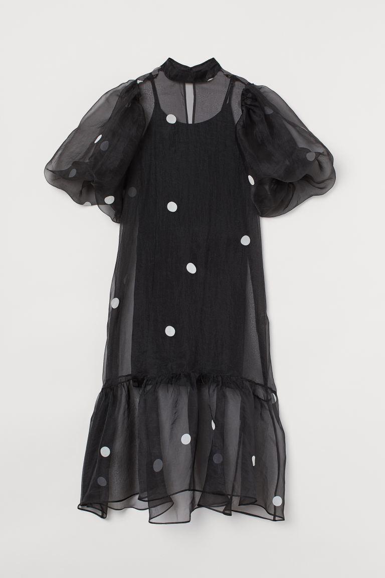 Balloon-sleeved organza dress