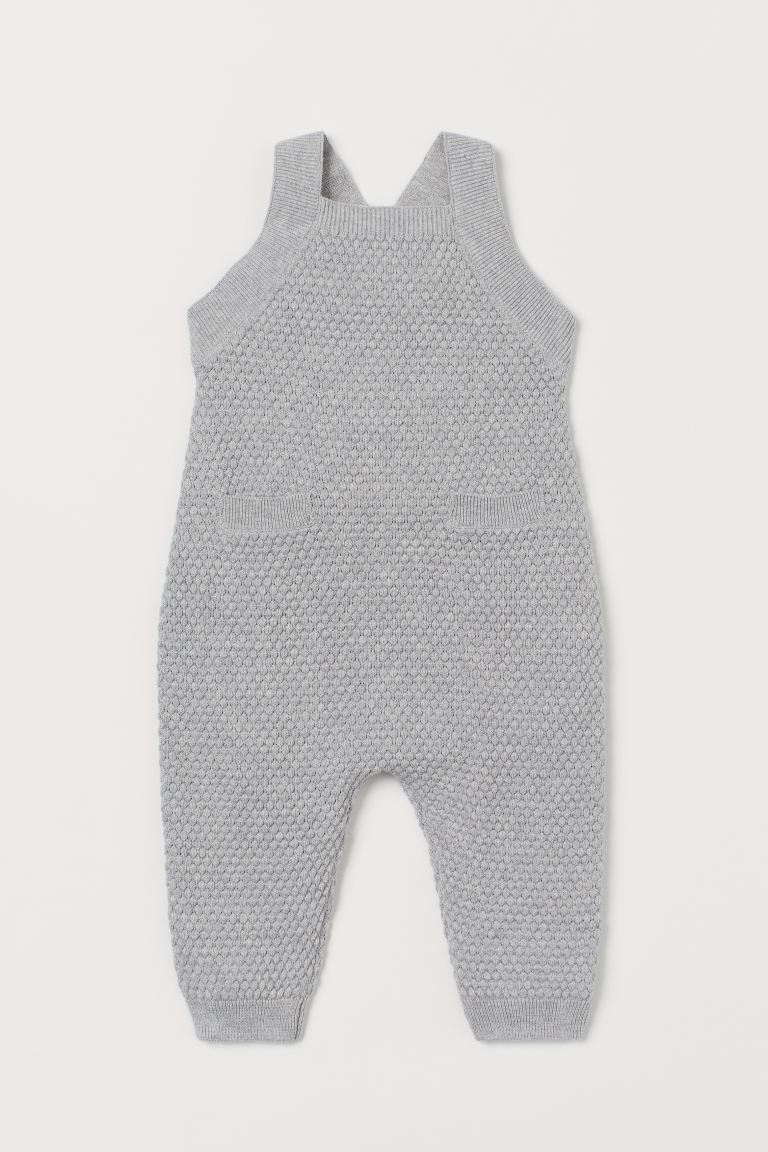 Knit Overalls - Light gray melange - Kids | H&M US