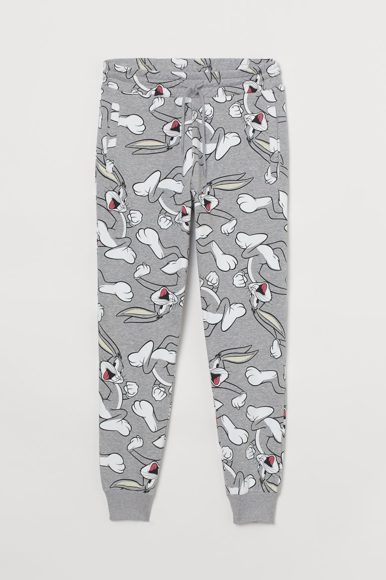 Patterned Joggers Light Gray Bugs Bunny Men H M Us