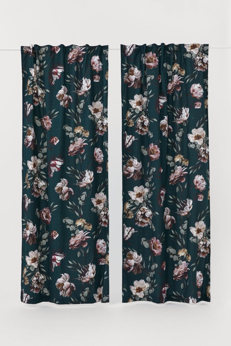2-pack multiway curtains - Petrol/Floral - Home All | H&M GB