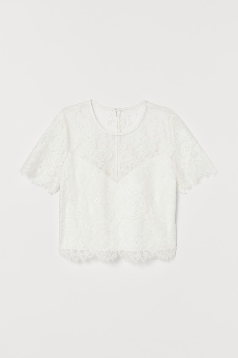 Lace Wedding Top - White - Ladies | H&M US