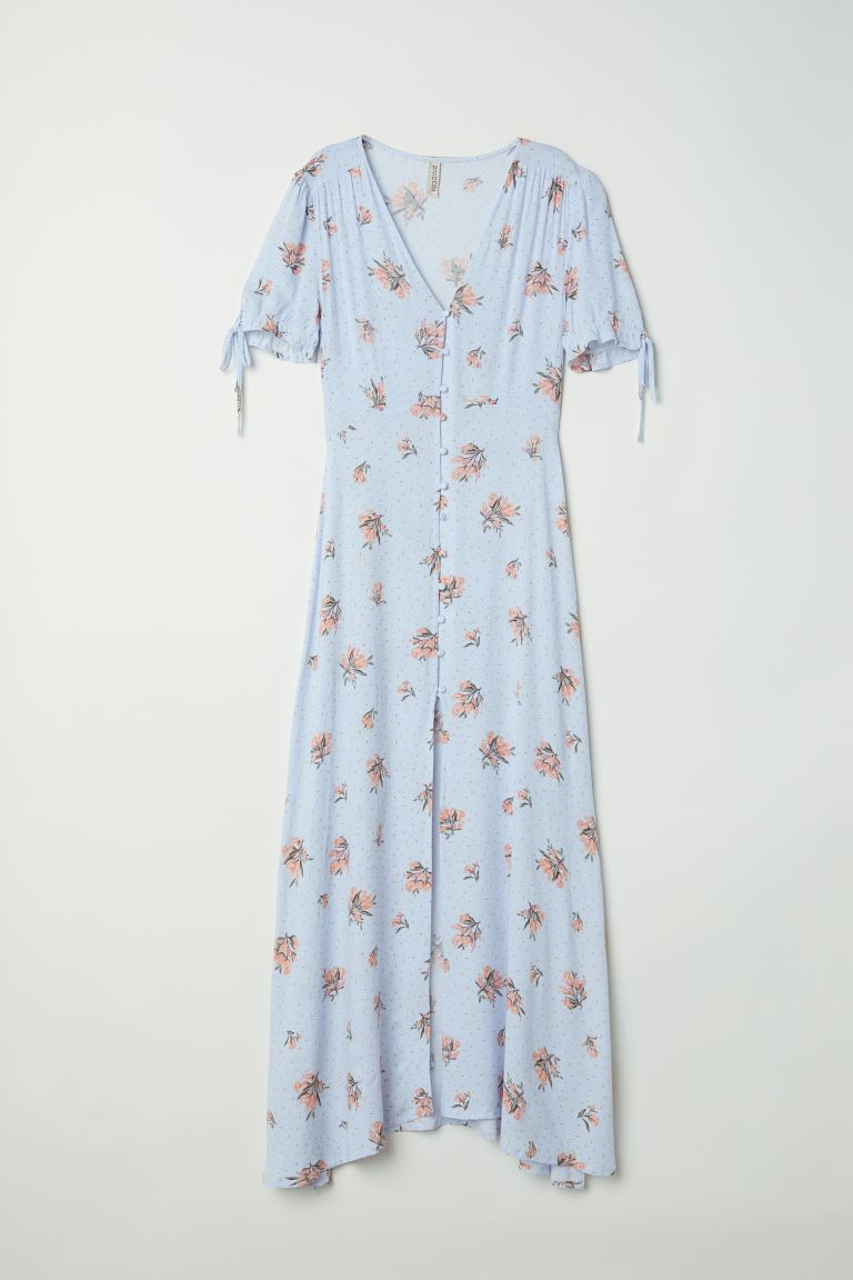 Button-up dress - Light blue/Floral - Ladies | H&M