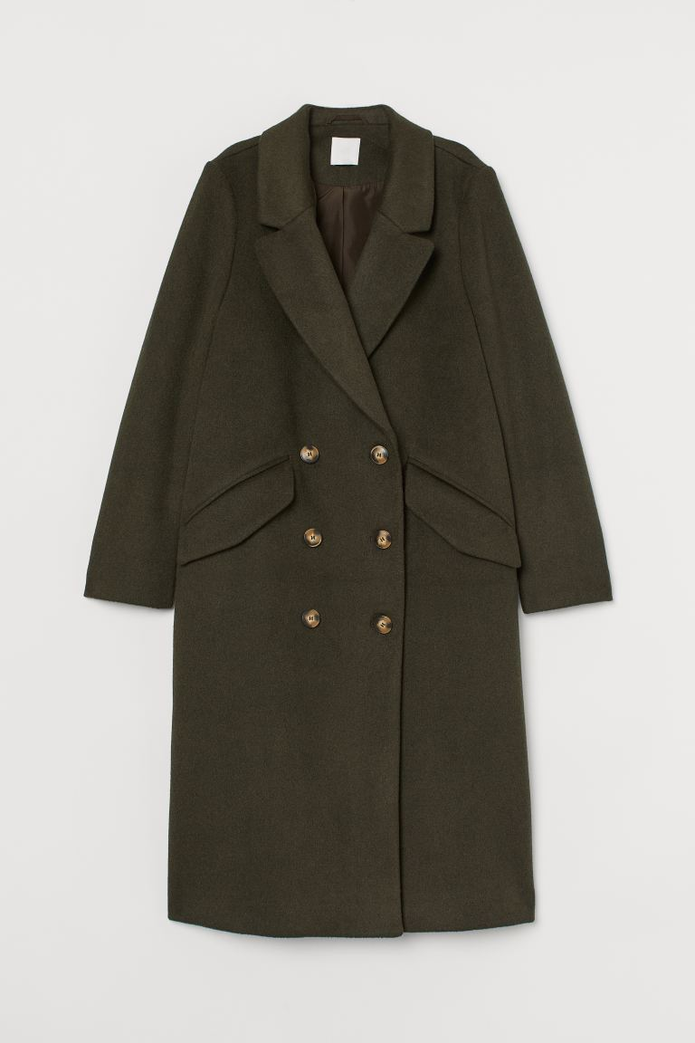 Knee-length coat - Moss green - Ladies | H&M GB