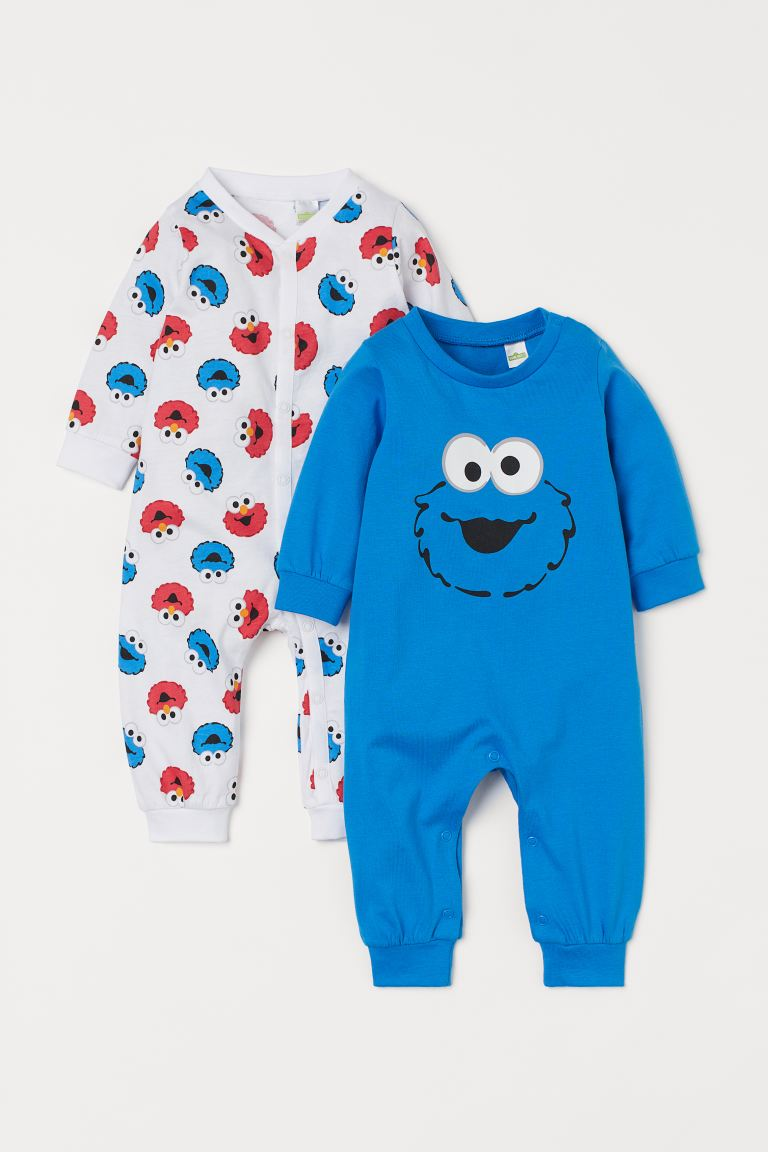 2-pack de pijamas enteros - Azul intenso/Sesame Street - Kids | H&M MX